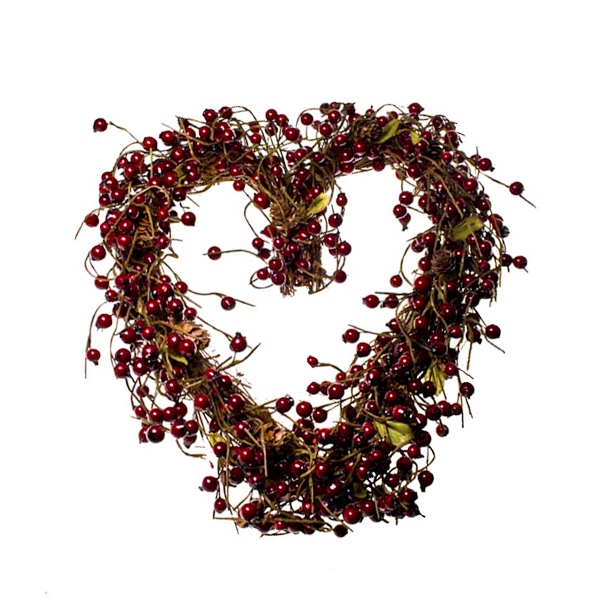 Gisela Graham Twig & Red Berry Heart Wreath - 37cm