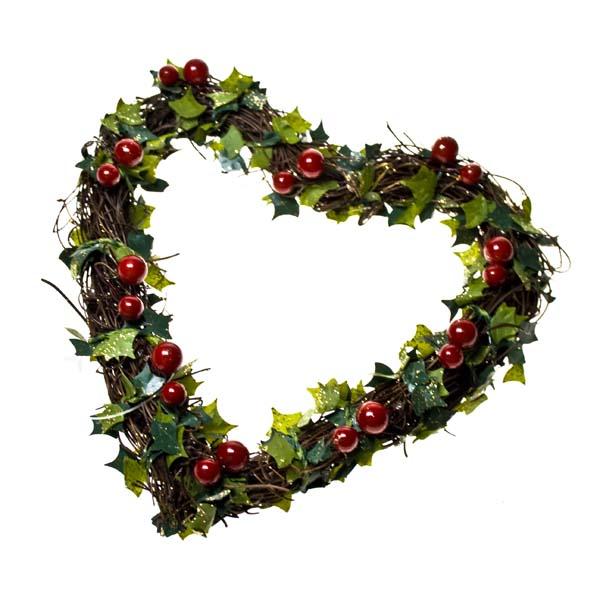 Christmas Heart Wreath.Gisela Graham Heart Twig Wreath Approx 24cm Diameter