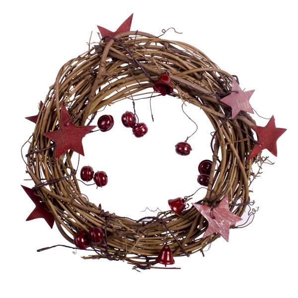 Gisela Graham Natural Twig Red Star & Bells Wreath - 38cm