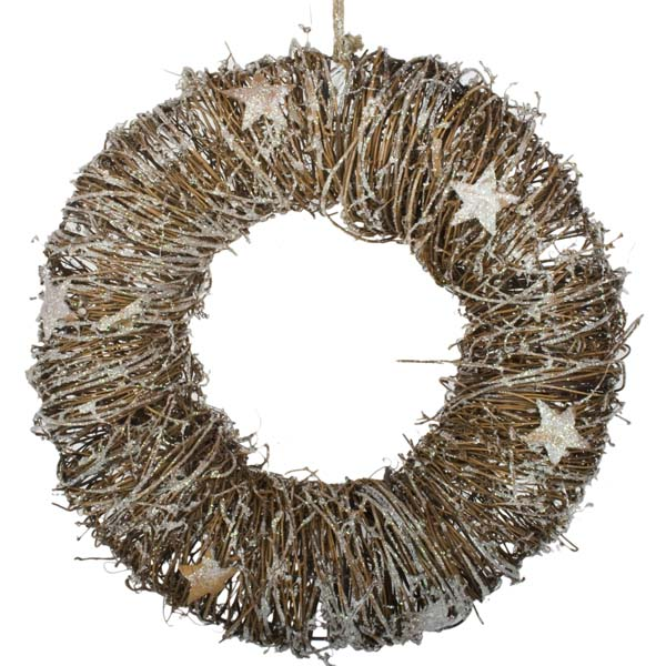 Frosted Brown Wreath with Star Detailing