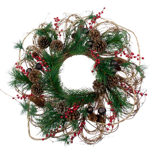 Cone Bell And Rope Wreath - 50cm