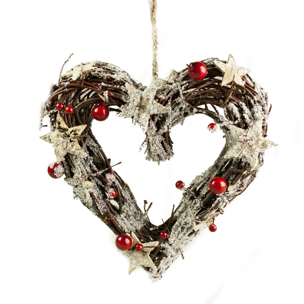 Brown Twig Heart Wreath With Birch Stars & Berries - 30cm