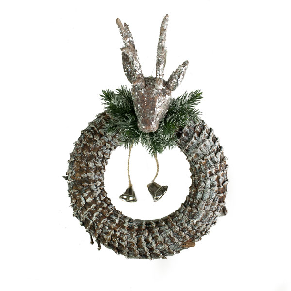 Pinecone Reindeer Wreath - 35cm