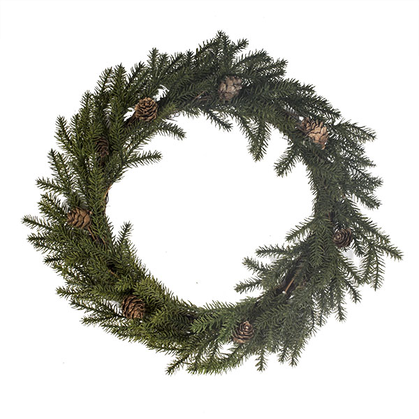 Spiky Green Wreath With Pinecones - 43cm