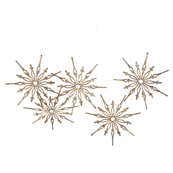 Gold Glitter Snowstar Hanging Garland - 1m