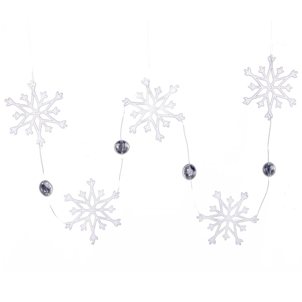 White Snowstar And Crystal Garland - 80cm