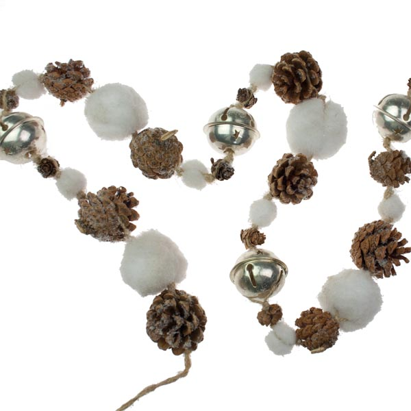 Pinecone Snowball And Gold Jingle Bell Garland - 110cm