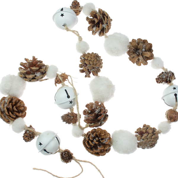 Pinecone Snowball And White Jingle Bell Garland - 110cm