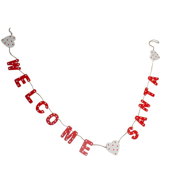 Gisela Graham Red & White Welcome Santa Garland - 1.2m