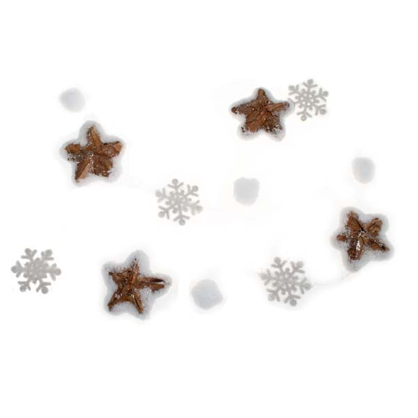 Light Bark Star Garland With Snowflakes & Snowballs