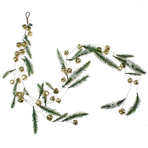 Snowy Gold Jingle Bell Garland - 1.2m