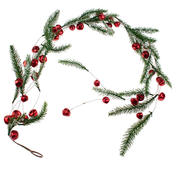 Snowy Red Jingle Bell Garland - 1.2m
