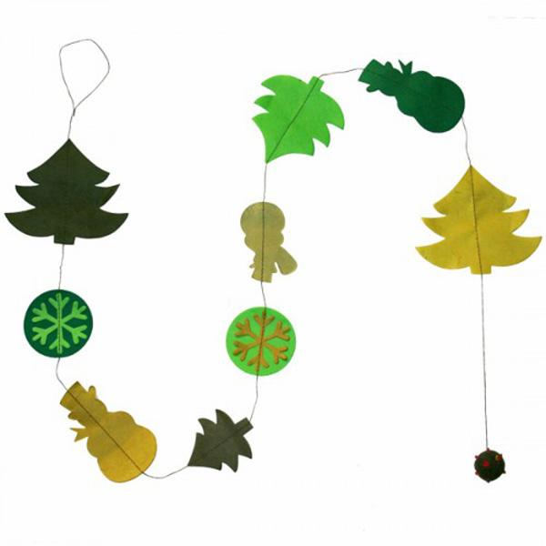 Handmade Christmas Decorations- Fairtrade Green Paper Garland With Snowman & Tree - 1.5m