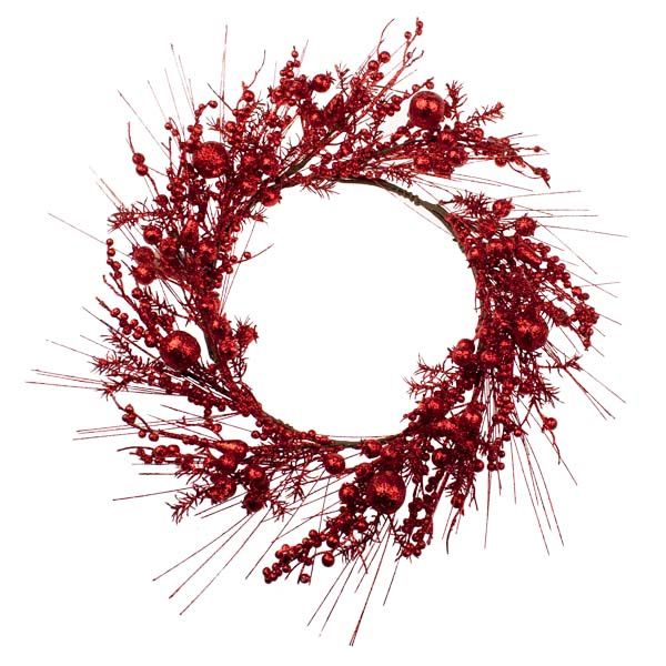 Red Festive Wreath With Fruits Decoration - 45cm