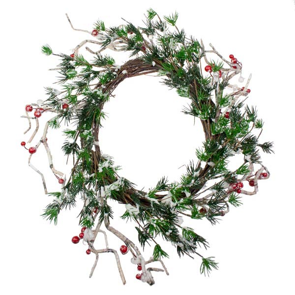 Green Leaves and Red Berry Wreath