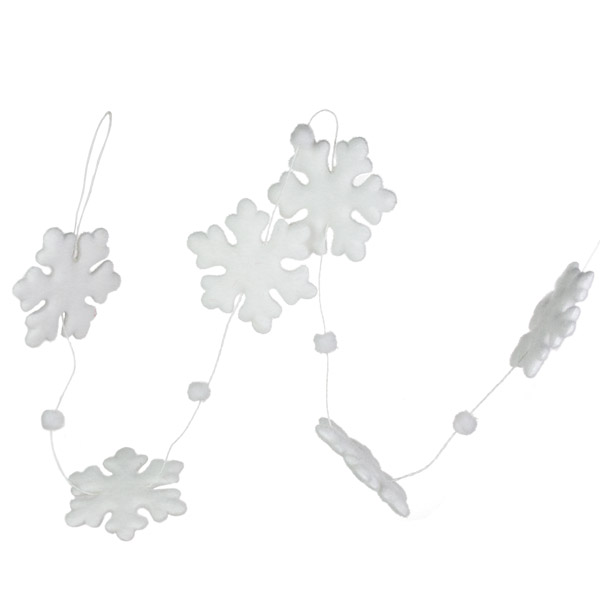 Flocked Snowflake Garland - 130cm