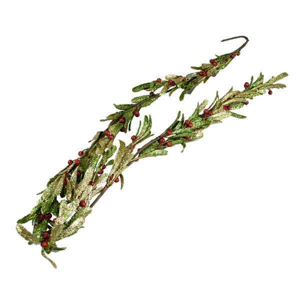 Gisela Graham Red, Green & Gold Glittered Mistletoe Garland - 150cm