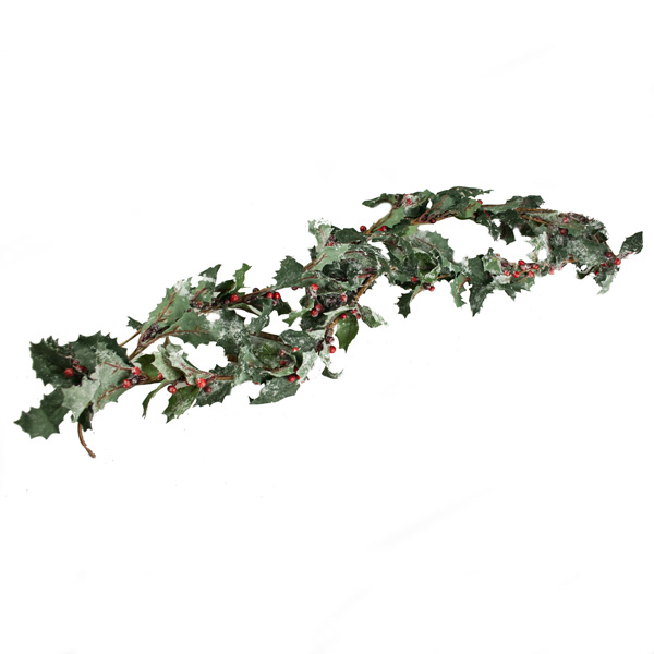 Snowy Holly Garland With Berries - 1.8m