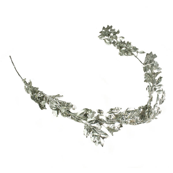 Silver Metallic Leaf Garland - 130cm