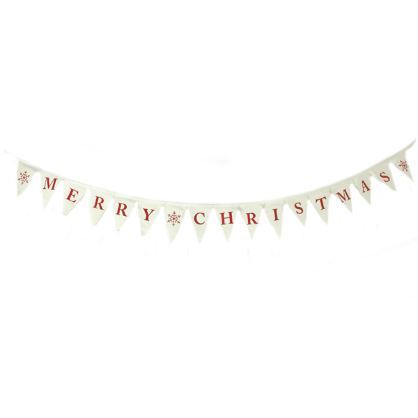 White & Red Fabric Merry Christmas Bunting - 1.8m
