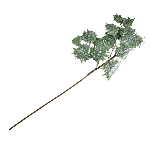 Green Glittered Holly Spray - 88cm