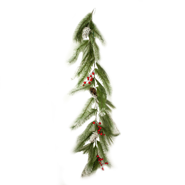 Snow Dusted Pine, Pinecone & Berry Mixed Garland - 1.8m