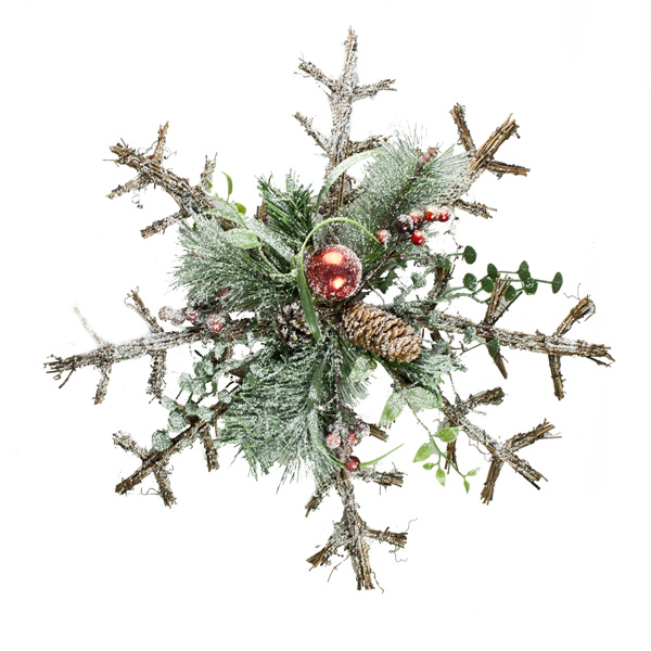 Frosted Snowflake Wreath With Cones And Berries - 55cm