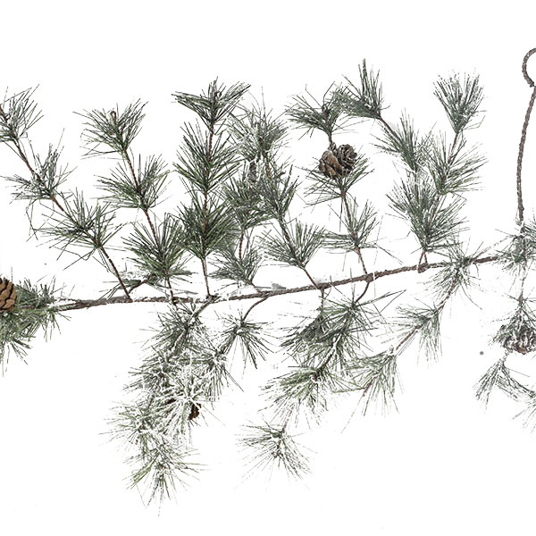Frosted Garland With Pinecones - 270cm