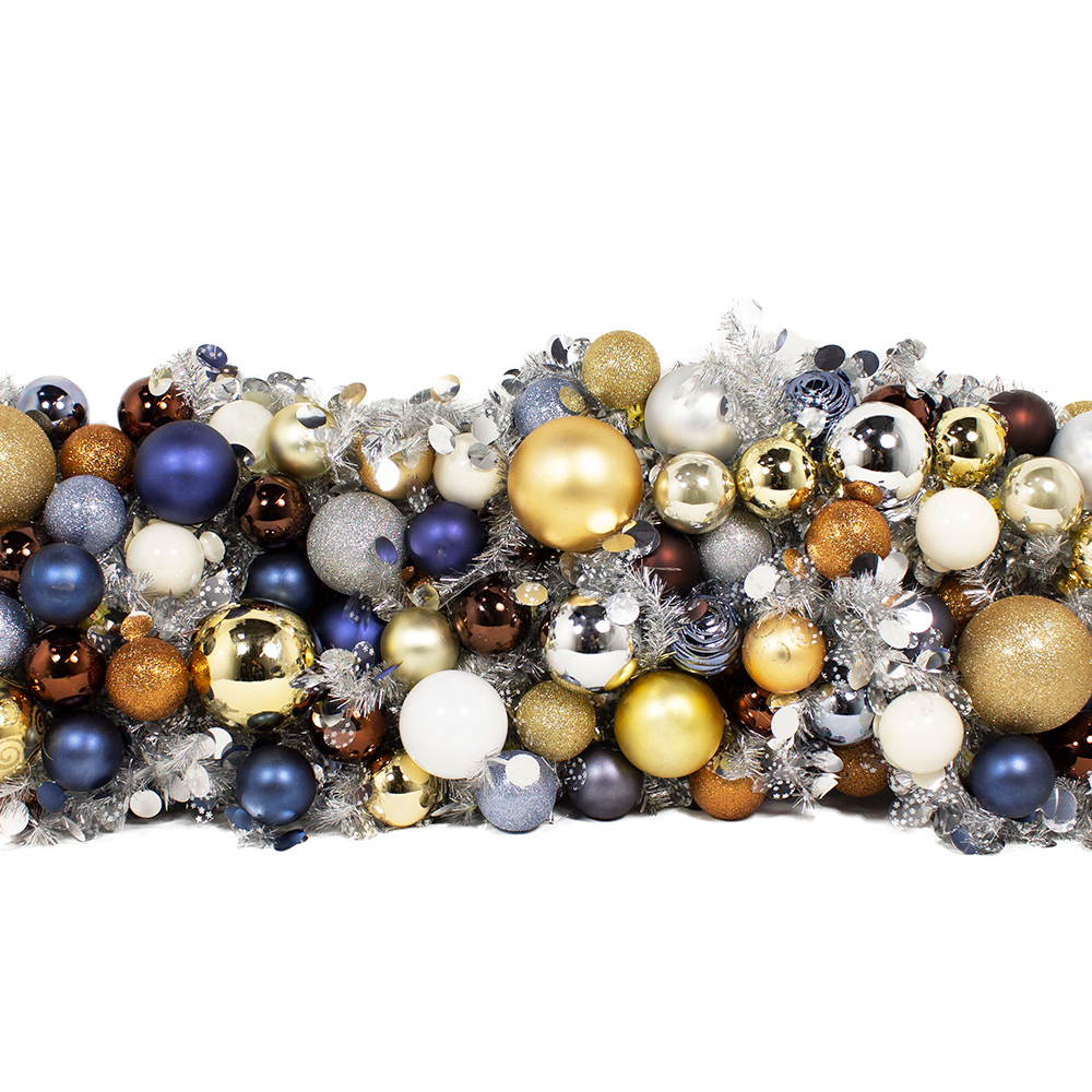Silver & White Mix With White, Blue, Brown & Gold Baubles Tinsel Disc Twig Garland - 2.7m X 250mm