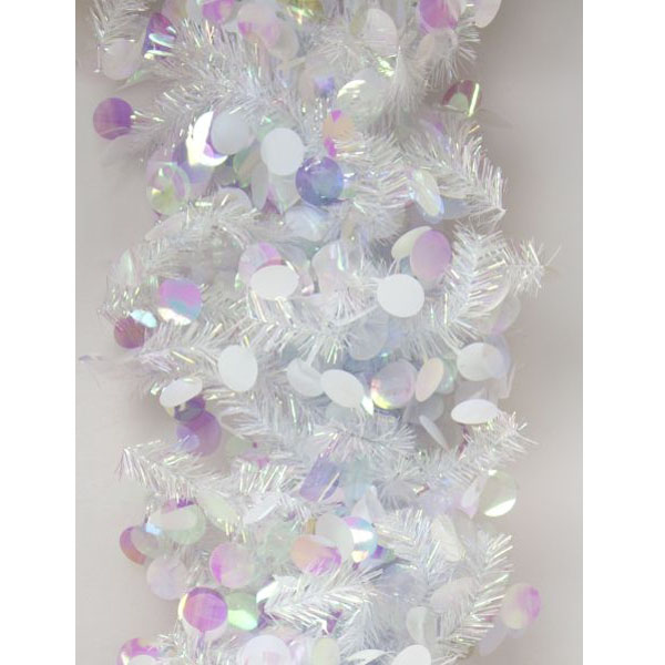 White & Iridescent Mix Tinsel Disc Twig Garland - 2.7m X 250mm