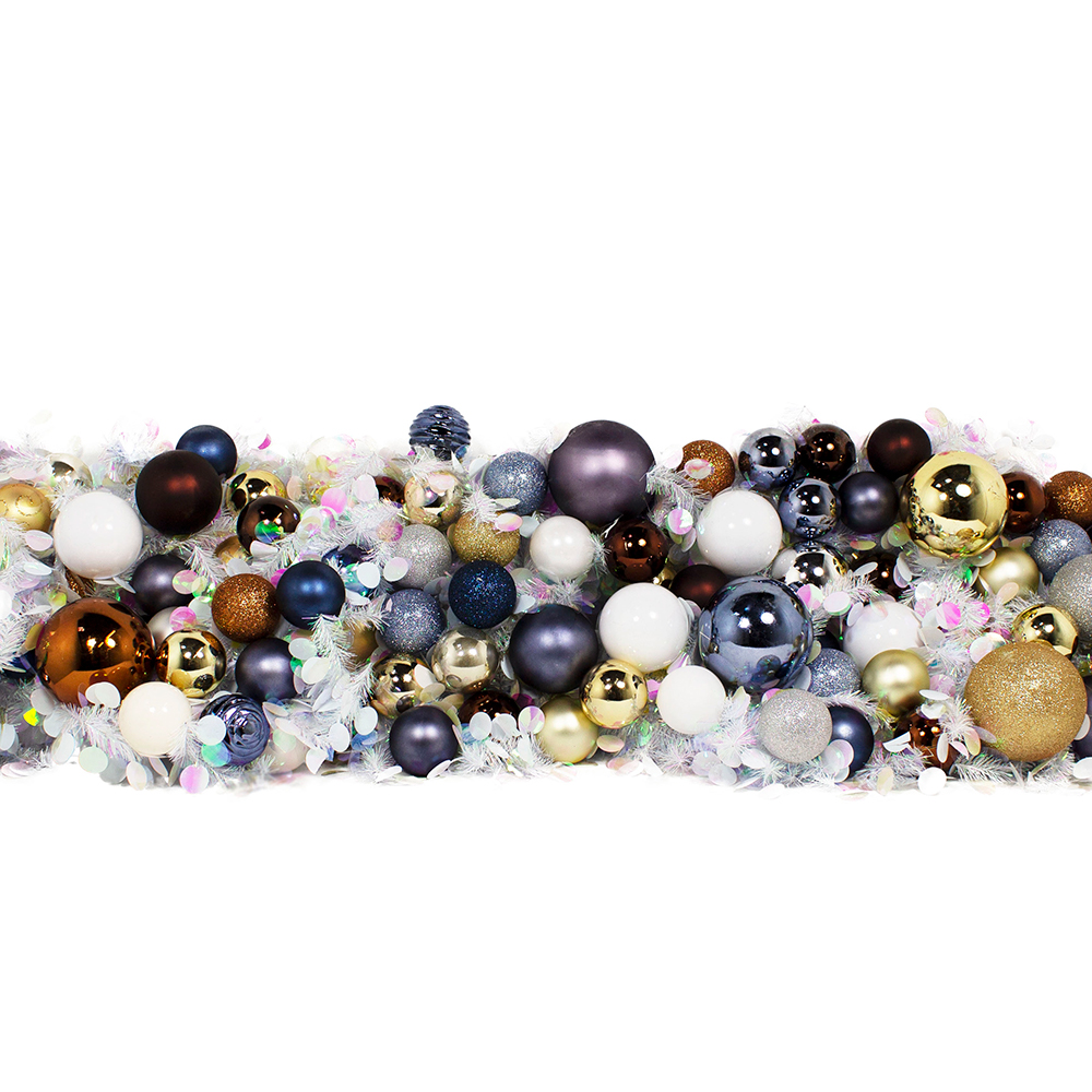 White & Iridescent Mix With White, Blue, Brown & Gold Baubles Tinsel Disc Twig Garland - 2.7m X 250mm