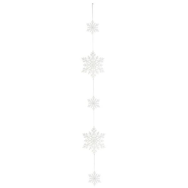White Glitter Filigree Snowstar Hanging Garland - 95cm