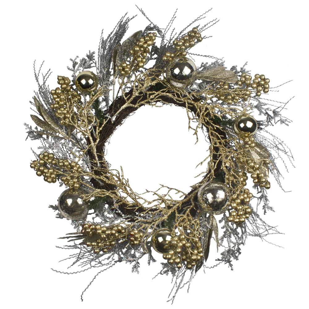 Rattan & Gold Bauble Room Decoration - 60cm Wreath