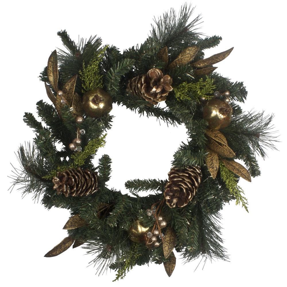 Gold Glitter Cone & Pomegranate Decoration Range - 60cm Wreath