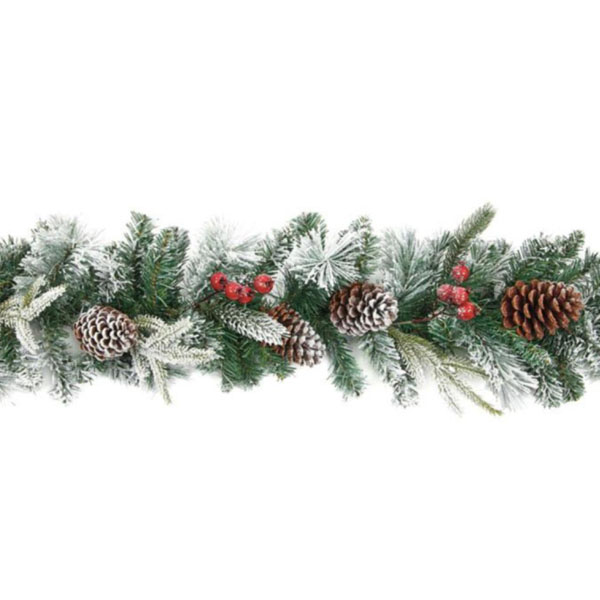 Frosted Red Berry And Cone Range - 2.7m Garland