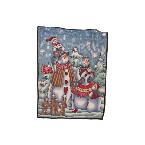 Snowman Design Fleece Throw - 1.6m x 1.3m