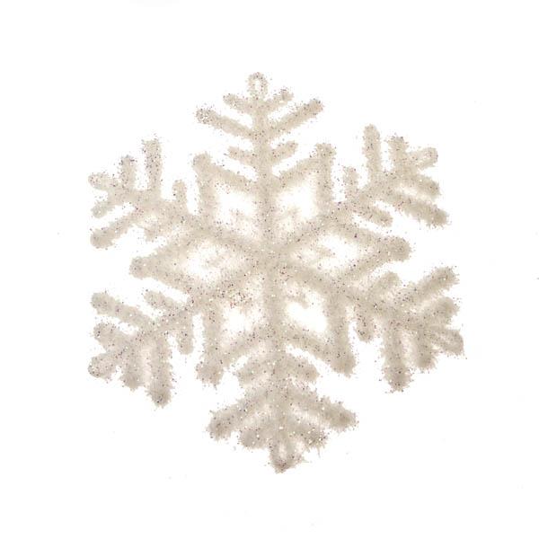 Gisela Graham White Flocked Snowflake - 12cm