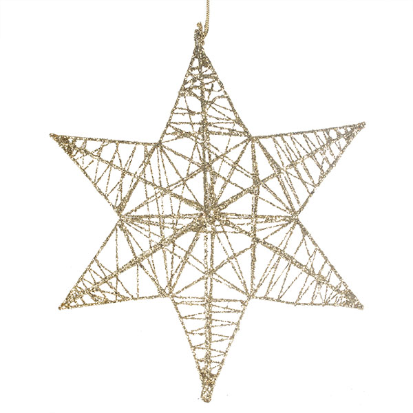 3D Hanging Gold 25cm Star Decoration