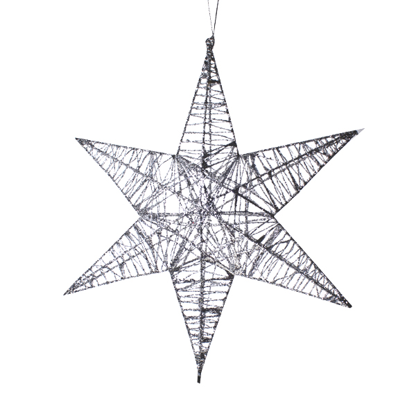 3D Hanging Silver 25cm Star Decoration
