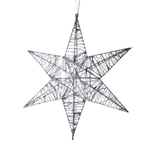 3D Hanging Silver 25cm Star Decoration