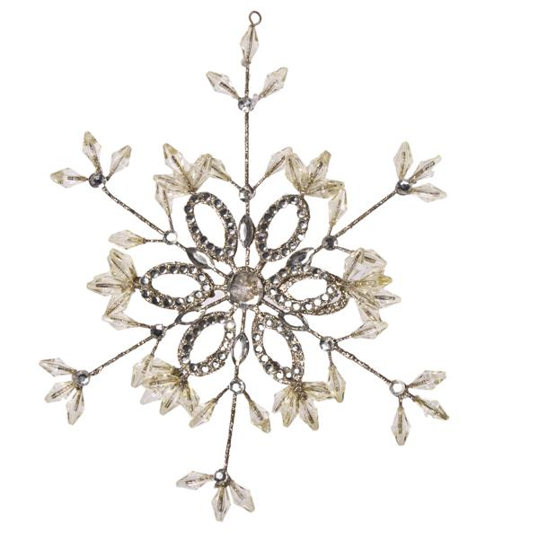 Gisela Graham Hanging Gold Wire And Diamante Snowflake