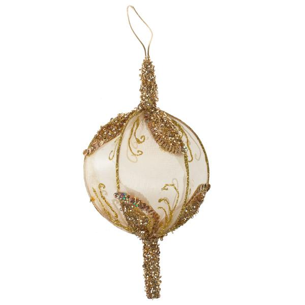 Gold Sheer Mesh Ball Decoration - 17cm