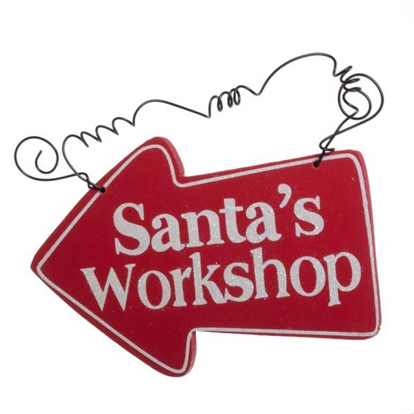 Gisela Graham Santas Workshop Wooden Arrow Sign - 15cm