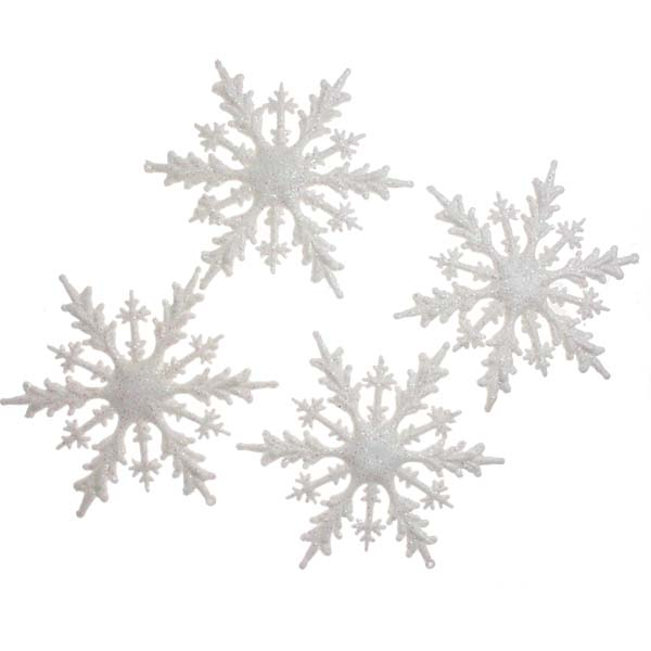 White Glitter Snowflakes - Pack Of 4 - 16cm