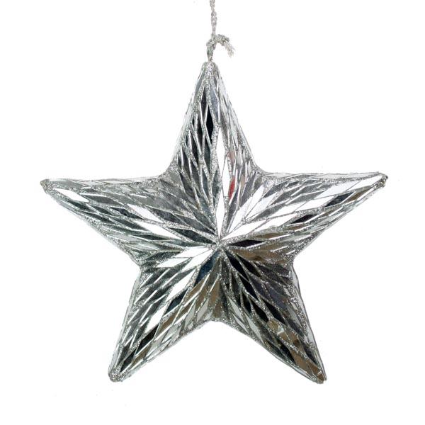 Silver Mirror Star Hanger - 17cm
