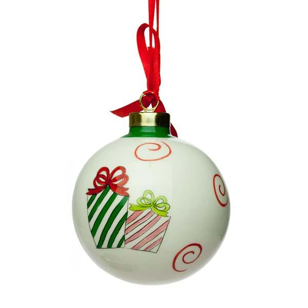 Christmas Presents Cream Porcelain Bauble - 8cm