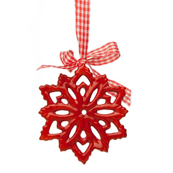Red Ceramic Snowflake Hanging Decoration - 8cm