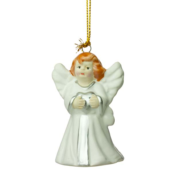 Ceramic Cherub Hanging Decoration - 7cm