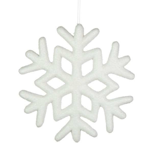 White Glitter Snowflake Hanging Decoration - 23cm