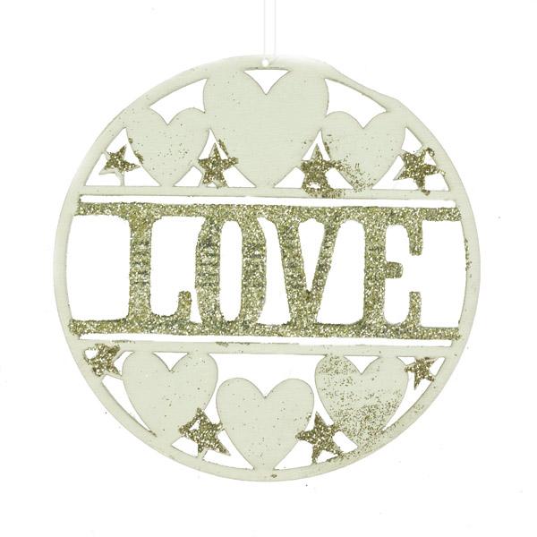 Gisela Graham Fretwork Love Hanging Disk Decoration - 10cm
